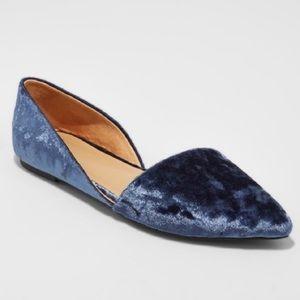 Blue Crushed Velvet D'Orsay Flats